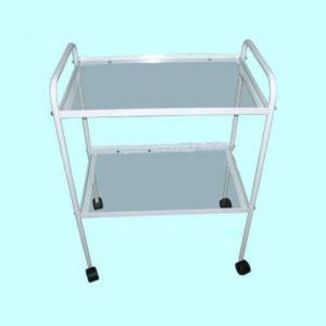 Столик медицинский инструментальный две полки из стекла