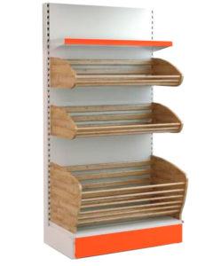 Стеллаж для хлеба торговый комбинированный с одной полкой и двумя корзинами