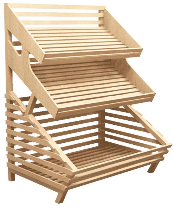 Стеллаж для хлеба деревянный с двумя полками