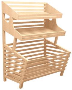 Прямой деревянный стеллаж с накопителем и двумя полками