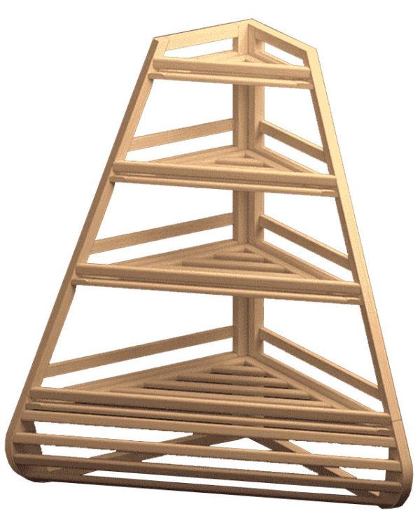 Угловой стеллаж из дерева для хлеба
