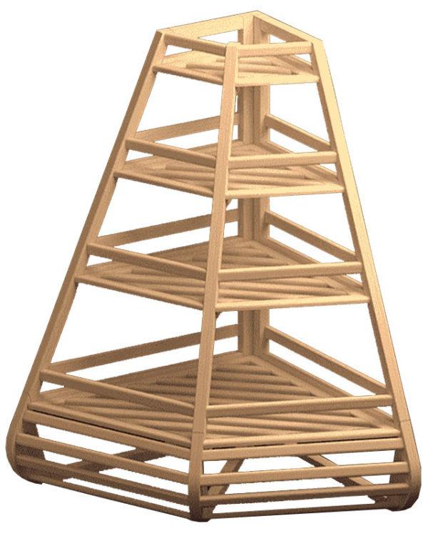 Угловой стеллаж из дерева для багетов
