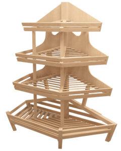 Торцевой стеллаж из дерева с тремя полками