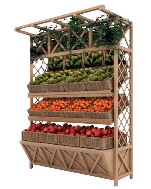 Стеллаж для овощей деревянный под корзины