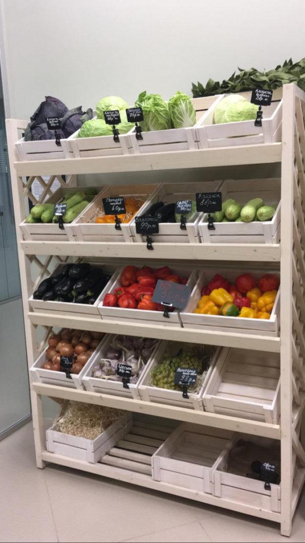 Стеллаж для овощей деревянный под корзины в Казани по цене 34848 руб