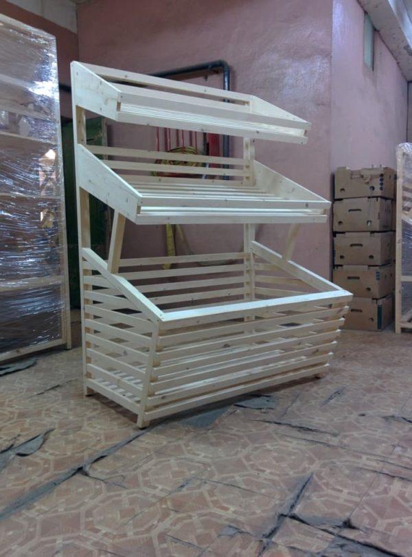 Прямой деревянный стеллаж с накопителем и двумя полками в Казани по цене 17250 руб