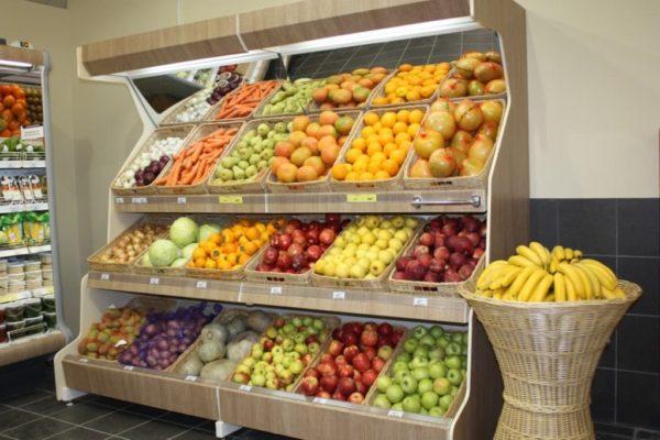 Овощной стеллаж с боковинами ЛДСП зеркальным фризом с подсветкой в Казани по цене 35850 руб