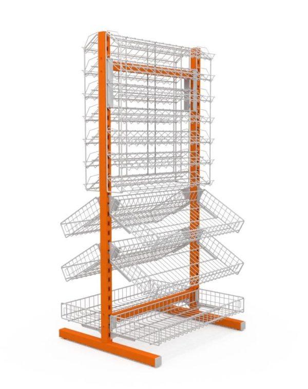 Стойка двухсторонняя 6 корзин + 2 наклонных блока 7 полок 736х650х1500