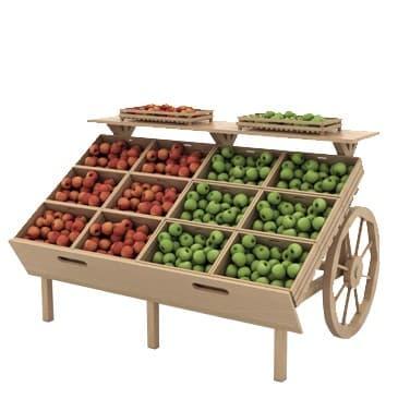 Деревянный развал для овощей и фруктов с ящиками в виде телеги в Казани по цене 17838 руб