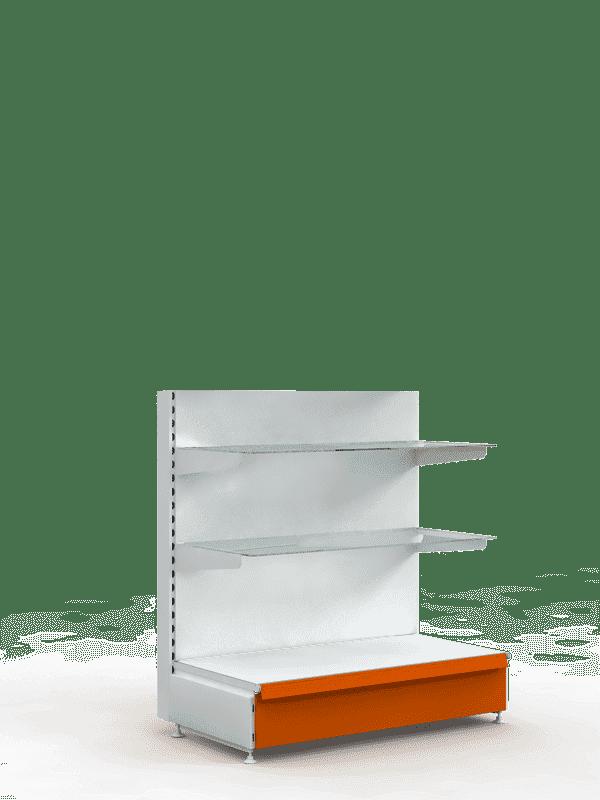 Торговый стеллаж со стеклянными полками низкий