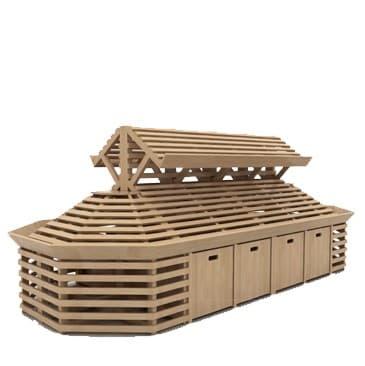 Система деревянных овощных стеллажей с суперструктурой