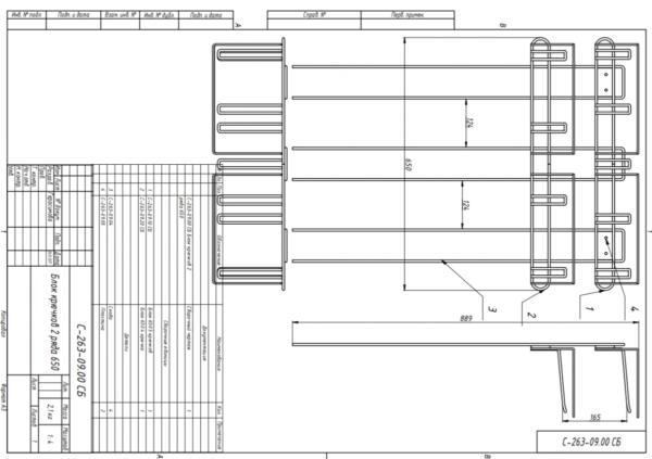 Наклонный блок 3 полки с кронштейнами 647х195х950 с блоком крючков 9 шт стеллажный из металла в Казани по цене 1476 руб