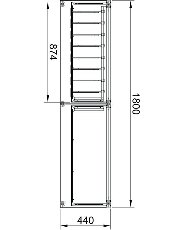 Модуль пристенный 2-х секционный металлический в Казани по цене 17899 руб