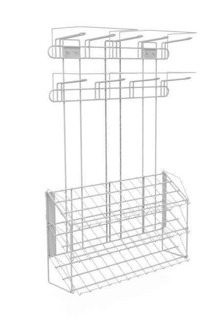 Наклонный блок 3 полки с кронштейнами 647х195х950 с блоком крючков 9 шт