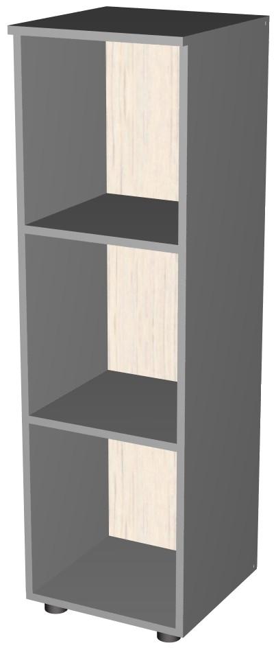 Стеллаж открытый офисный на 3 полки серого цвета