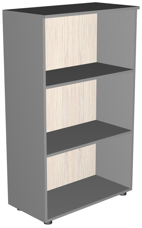 Стеллаж открытый широкий с 3 полками серого цвета