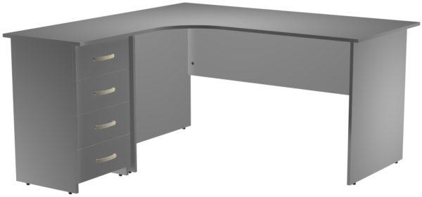 Офисные столы для персонала: Стол эргономичный угловой левый(правый) с опорной тумбой ЛДСП цвет серый