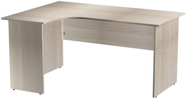 Офисные столы для персонала: Стол эргономичный угловой левый ЛДСП цвет Ясень Шимо светлый