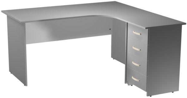 Стол эргономичный угловой правый с опорной тумбой цвет Серый
