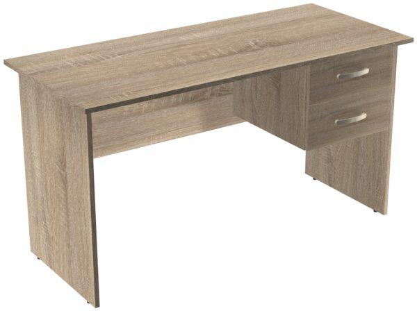 Офисные столы для персонала: Стол рабочий с ящиками ЛДСП цвет Дуб Сонома