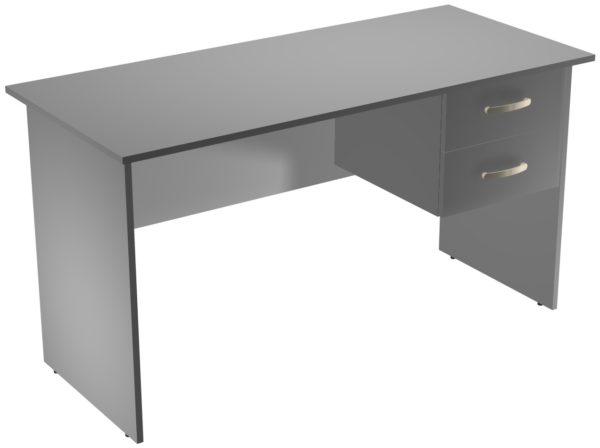 Офисные столы для персонала: Стол рабочий с ящиками ЛДСП цвет серый