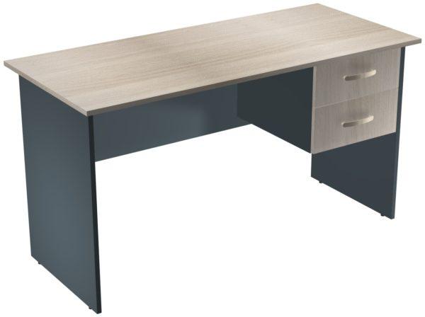 Офисные столы для персонала: Стол рабочий с ящиками ЛДСП многоцветный
