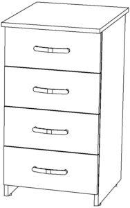 Тумба приставная на 4 ящика