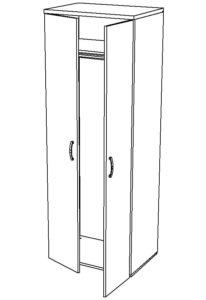 Шкаф гардеробный для офиса купить в Казани по цене 3400 руб от мебельной фабрики